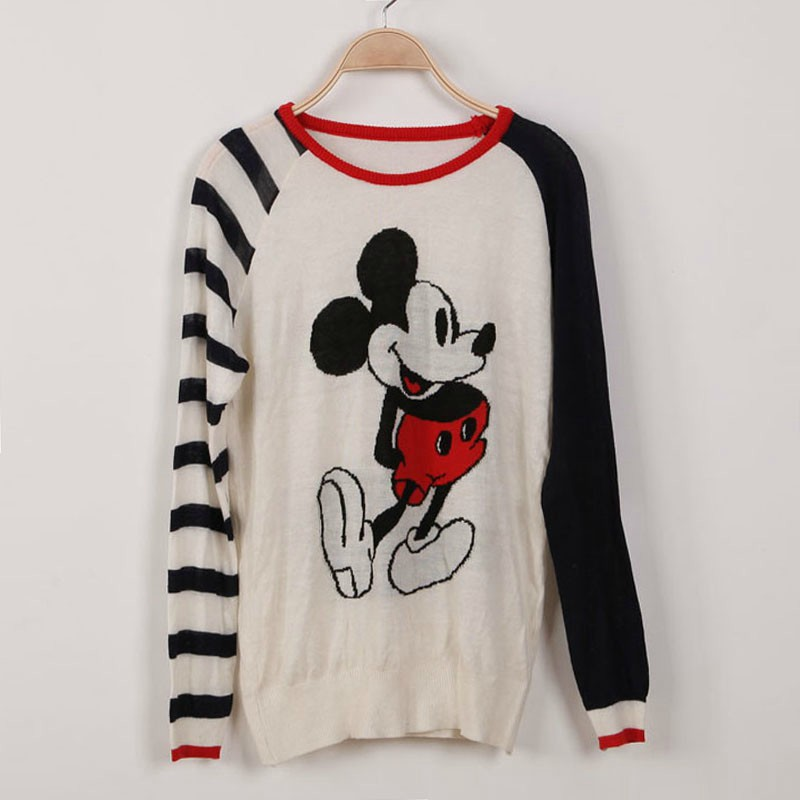 2013 autumn new Korean version of sweet spell color Mickey Mouse cartoon pullover sweater female sweater bottoming shirt-in Hoodies & Sweatshirts from Apparel & Accessories on Aliexpress.com