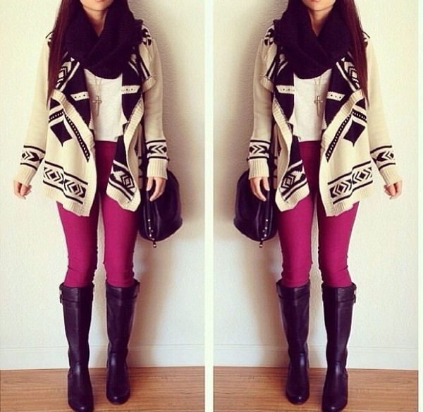 shirt forever 21 wetseal burgundy black c.r.e.a.m cream blouse cross necklace black scarf jeans scarf shoes sweater