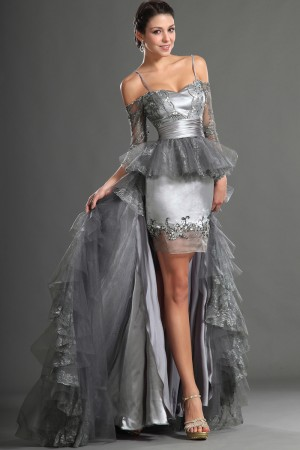 2014 New Gray Asymmetrical Spaghetti Straps Organza A-Line Dress With Appliques On Sale - Fadhits - English - p-Dwomendress1506