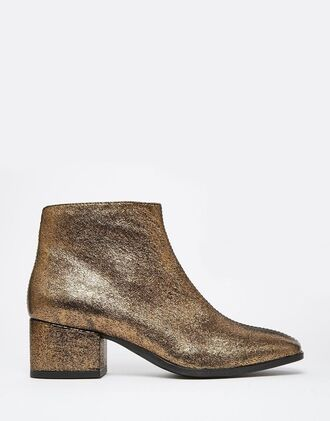 shoes ankle boots glitter shoes gold shoes metallic shoes gold mid heel boots