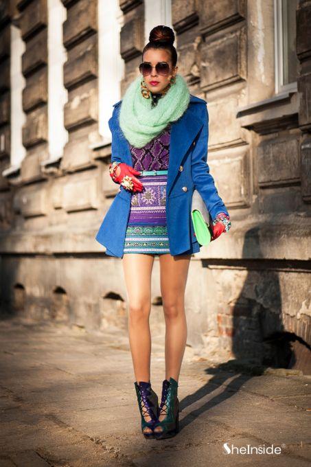 Royal Blue Military Double Skirt Hem Woolen Coat - Sheinside.com