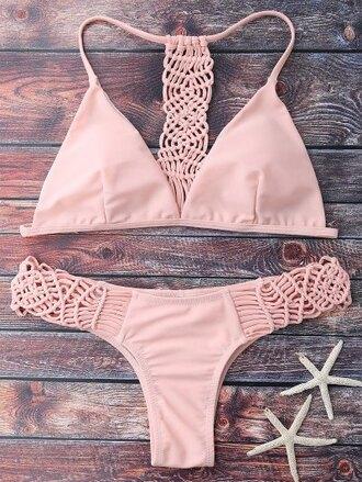 swimwear bikini girly cute summer beach light pink zaful