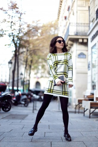 frassy blogger 60s style checkered shift dress derbies retro