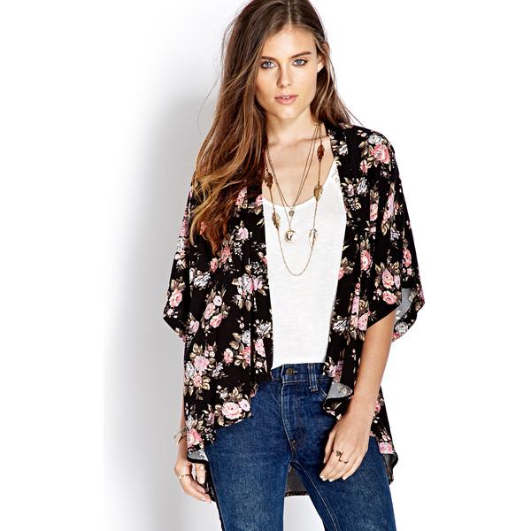FOREVER 21 Free Spirit Floral Kimono - Polyvore