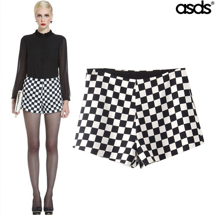 spring new European style fashion checkered shorts WDK12422-in Shorts from Apparel & Accessories on Aliexpress.com