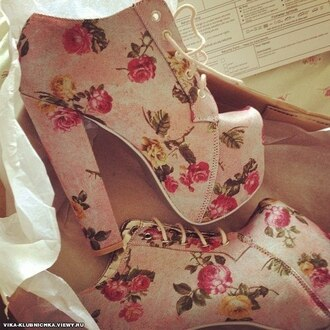 shoes floral heels platform shoes high heels pretty floers flowers jeffrey campbell lita litaheels lita platform boot litaboots lita platform boots rose