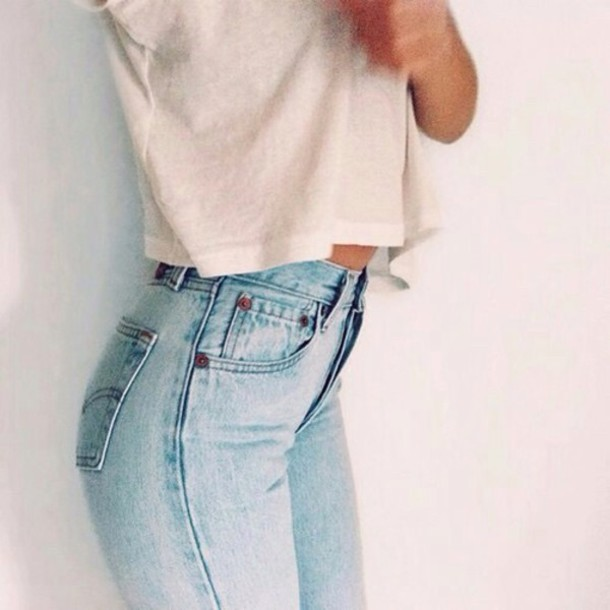 jeans top high waisted jeans blue washed denim light blue light jeans crop tops t-shirt white white t-shirt light blue jeans hipster levi's skinny jeans