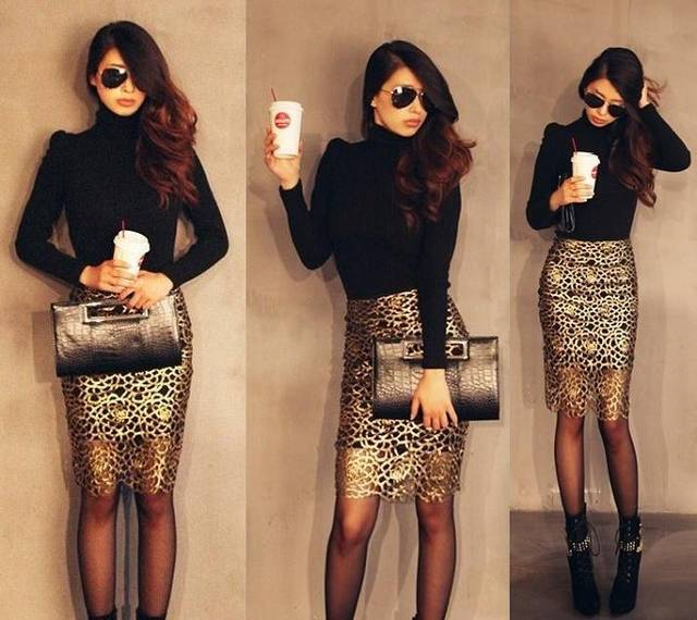 2014 New Trendy Luxury Golden See through Lace High Waist Skirt SP067-in Skirts from Apparel & Accessories on Aliexpress.com