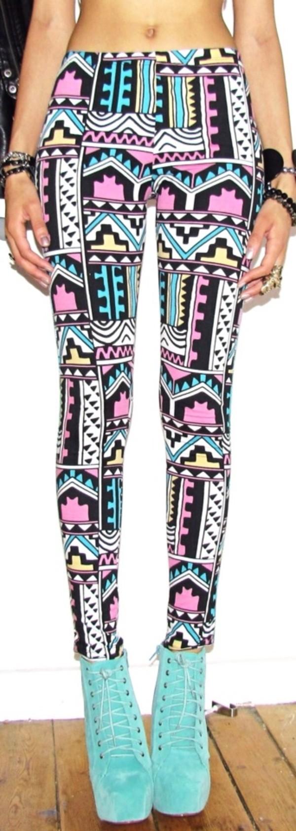 pants aztec colorful leggings cute aztec leggings leggings super cute