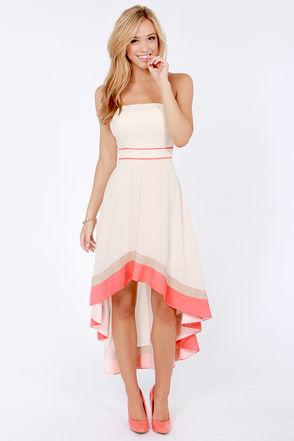 Gorgeous Cream Dress - Strapless Dress - Color Block Dress - $81.00