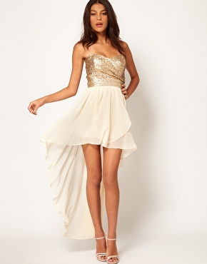 ASOS TFNC Dress Sequin Bandeau Hi Low Skirt Small UK 10 EU 38 *-*New*-* Gold   eBay