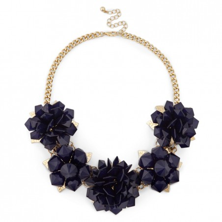 Women's Navy Metal Modern Floral Necklace by Sole Society