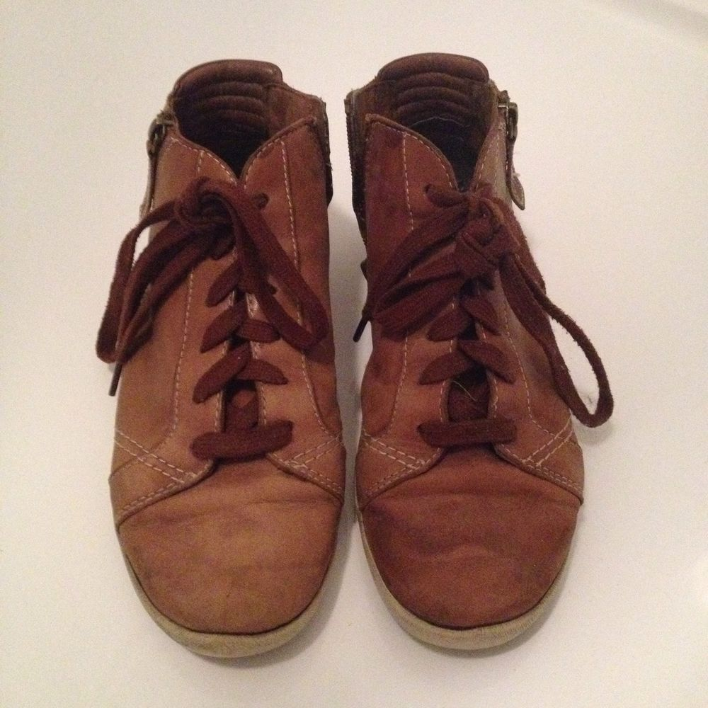 leather trainers Size 5.5 39 Zip Kicks Boots Lace Up Vintage Retro Brown Tan   eBay