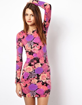 ASOS | ASOS Mini Body-Conscious Dress In Photo Floral With Zip Cuff at ASOS