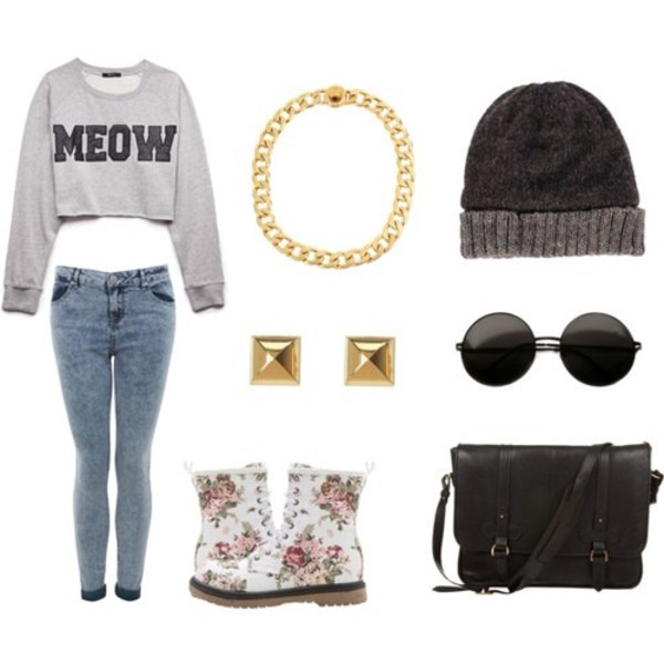 shirt meow long sleeves gold hipster outfit idea vintage floral flowers gold chain necklace hat jewels DrMartens bag jeans shoes