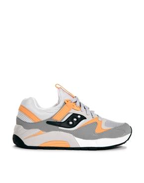 Saucony | Saucony Grid 9000 Grey/Orange Trainers at ASOS