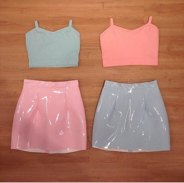 skirt pastel pink pastel blue crop tops tank top pvc pink vinyl skirt vinyl skirt high waisted skirt pastel pink blue mini skirt
