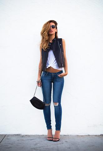 blogger jacket sunglasses bag shoes jeans denim fashion