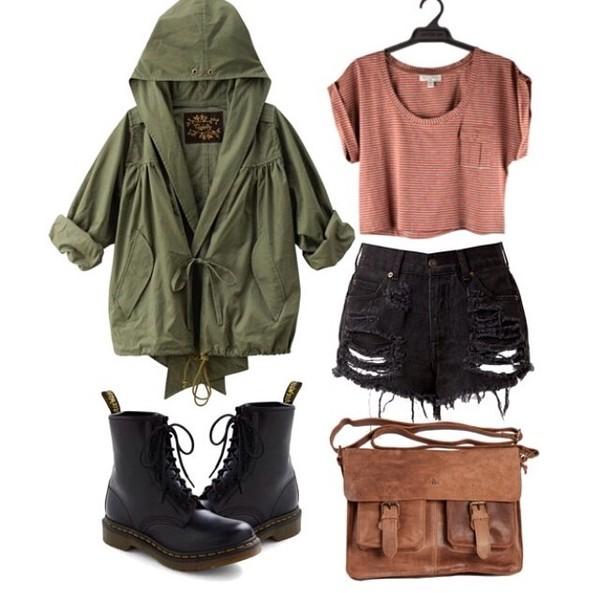 shirt shorts shoes bag jacket coat hunter green brown crop top blouse