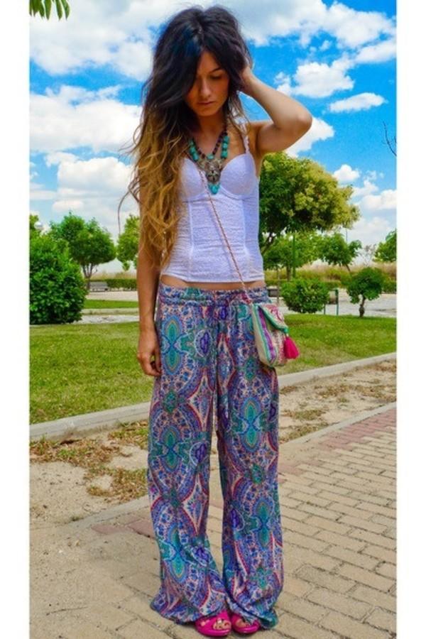 pants floaty pants pattern hippie hippie boho