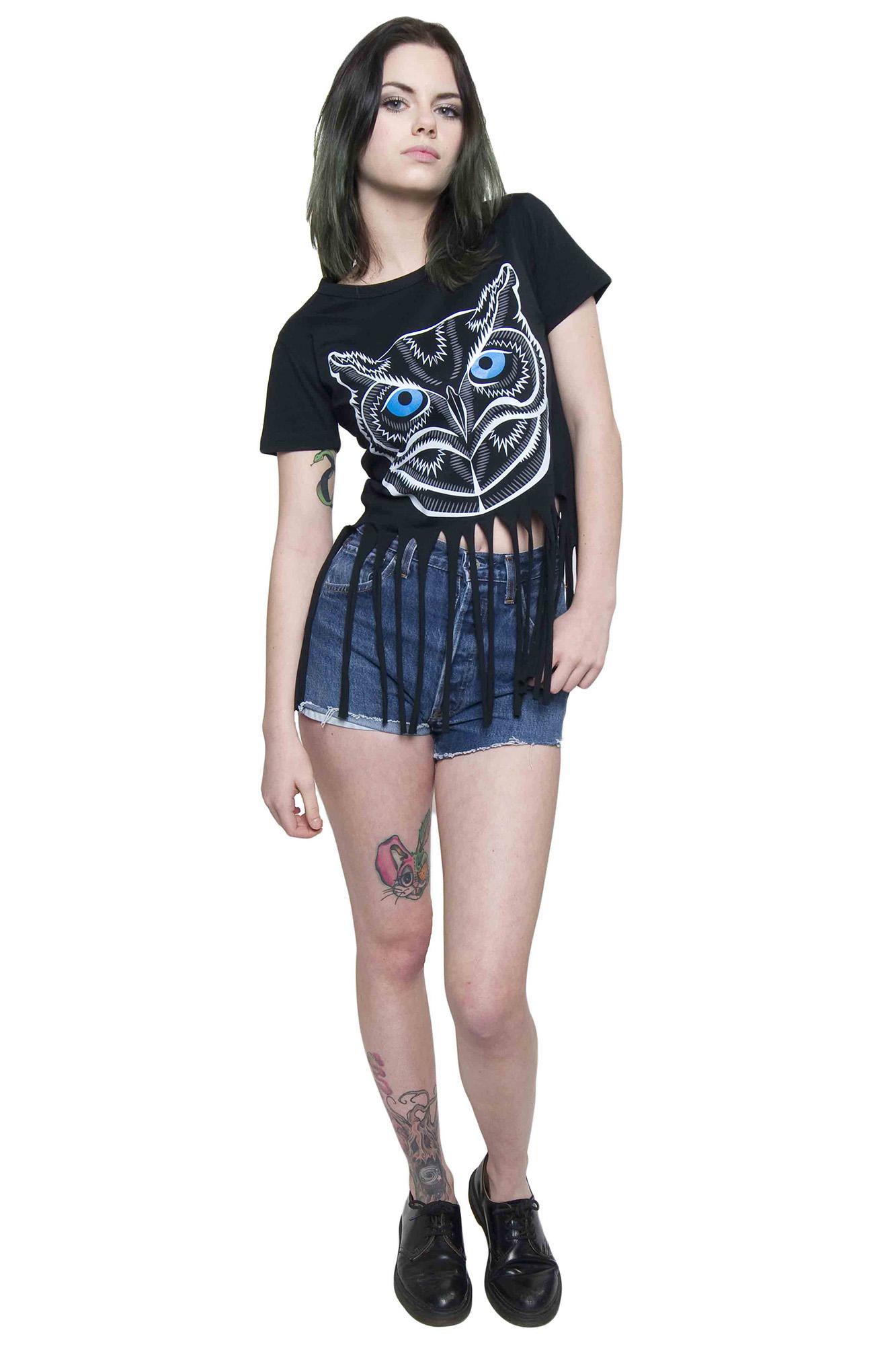 TOPS : Super Owl Black Fringe