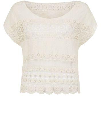 Cream Stripe Crochet T-Shirt