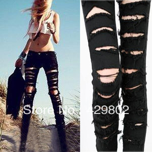 Cool !!! New for Women Black Cotten Denim Punk Ripped Jeans Sexy Slim Cut Off Leggings s M L Free Shipping-in Jeans from Apparel & Accessories on Aliexpress.com