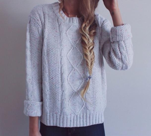 sweater cream knit thick wool cuffed grunge