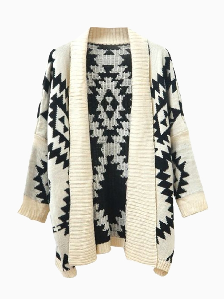 Vintage Waved Kimono Cardigan with Wide Collar in Beige   Choies