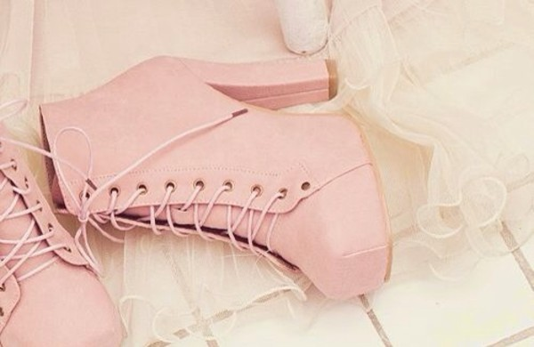 shoes heels high heels pink blockheels pink heels lace up boots girly pretty
