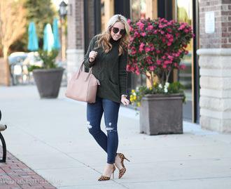 twopeasinablog blogger sweater jeans shoes sunglasses jewels bag handbag pink bag high heel pumps animal print skinny jeans
