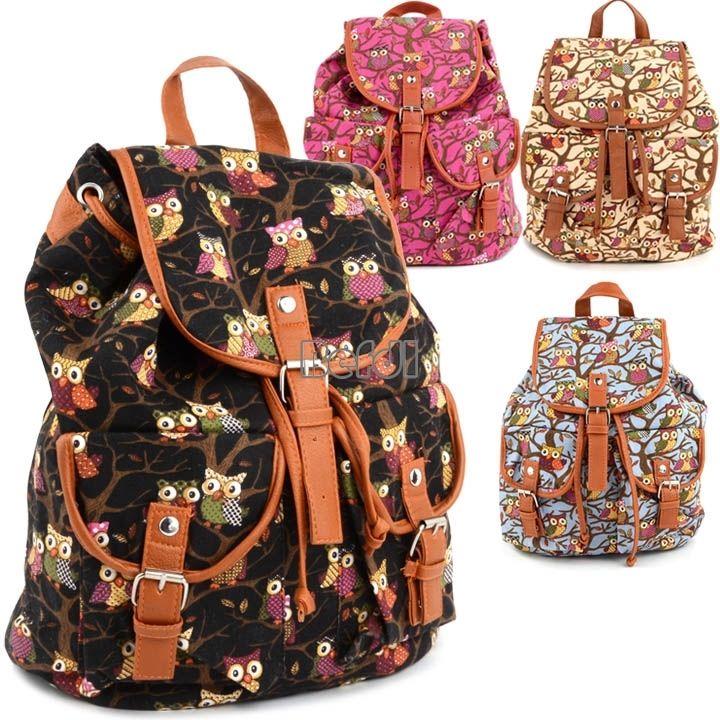Arrival Cute Owls Womens Bag Canvas Satchel Girls' Backpack Shoulder School Bag   eBay