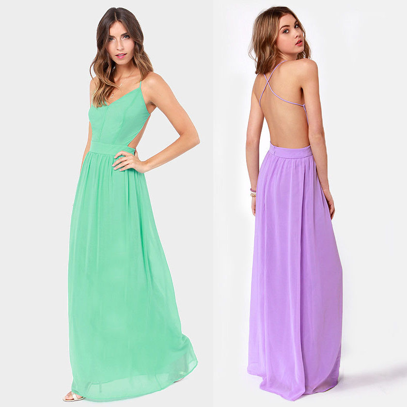 New 2014 Fashion Summer Dresses Back Cross Spaghetti Strap Perspectivity Invisible Zipper Long Chiffon Women Dress In Stock-inDresses from Apparel & Accessories on Aliexpress.com