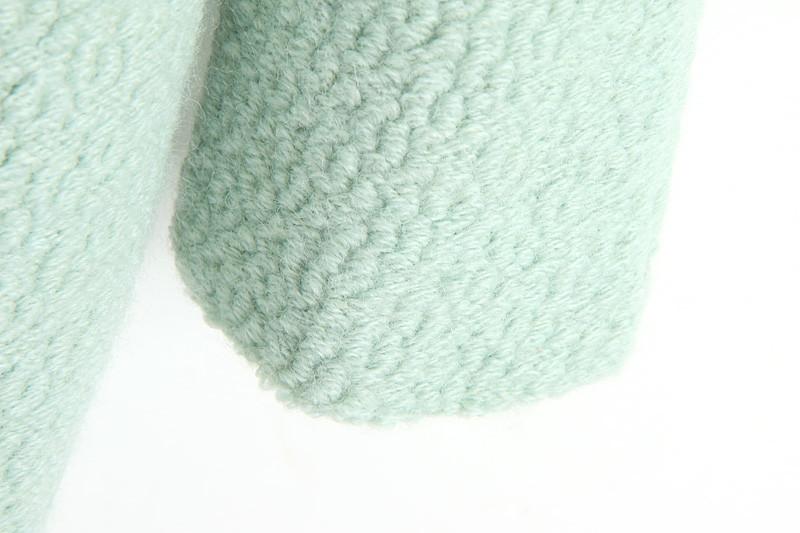 Mint Green Lapel Double Pocket Longline Wool Coat - Sheinside.com