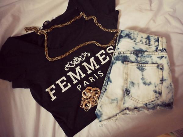 t-shirt femmes paris shorts jewels chainshirt
