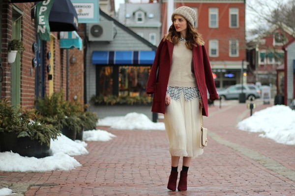 jess style rules skirt blouse shoes sweater bag coat hat