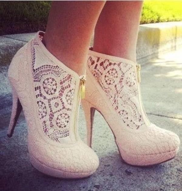 shoes high heels nude heels girly heels lace white zip lace heels wedding shoes white lace zip up heel hipster
