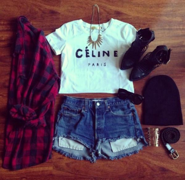 blouse celine necklace crop tops shoes red paris shorts sunglasses white jewels