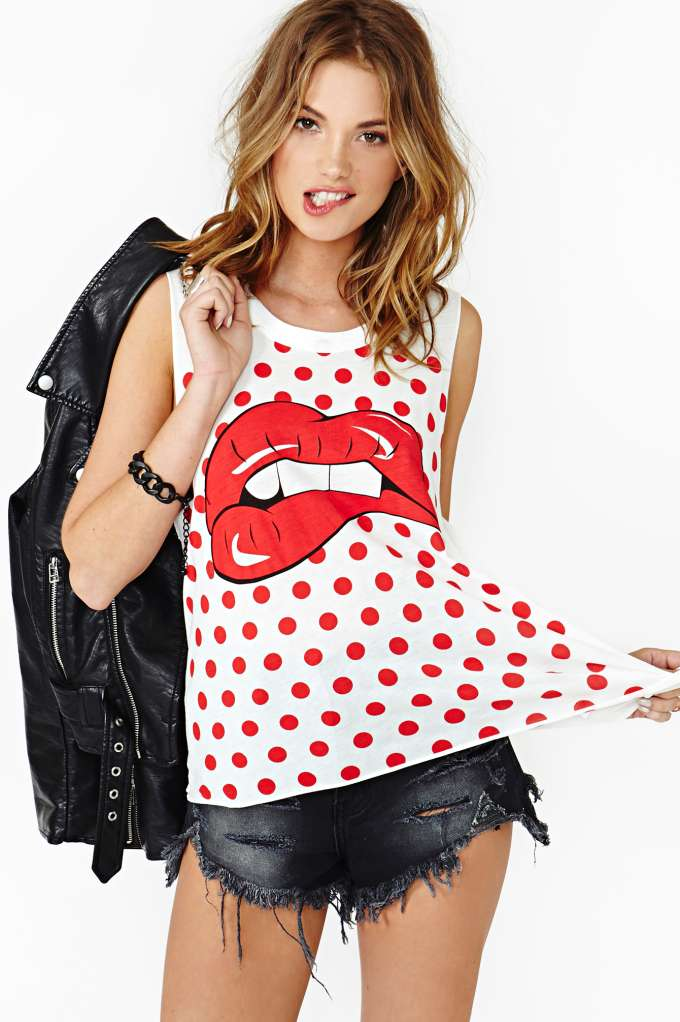 Dot Kiss Muscle Tee  in  Shop All at Nasty Gal