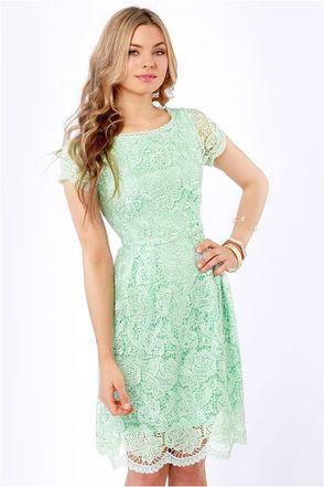 Pretty Mint Dress - Lace Dress - Backless Dress - $70.00