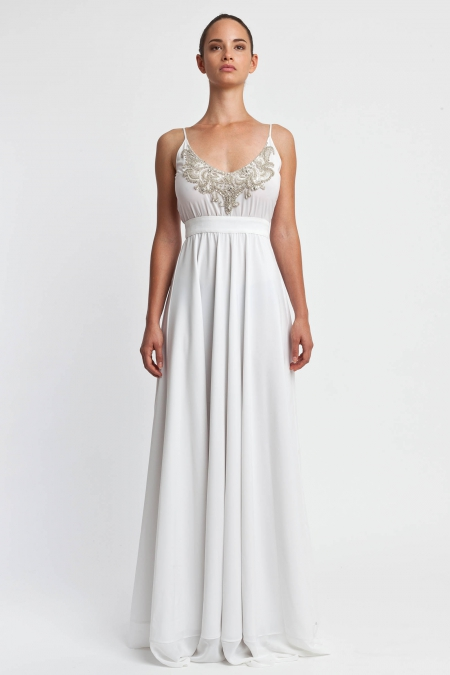 Stephan Pelger | Long Dress With Embroidered Top White - COUTURE SOCIETY | LUXURY DESIGNER FASHION & COUTURE | Pre-order Exclusive STYLES