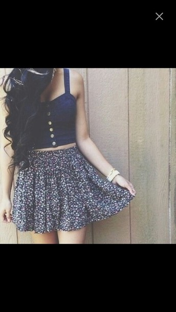 top lookbook skirt style blue skirt flowers jeans floral skirt