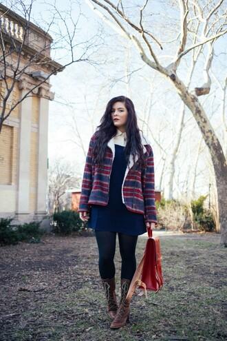 noelles favorite things blogger jacket blouse satchel bag blue dress sweater shoes bag
