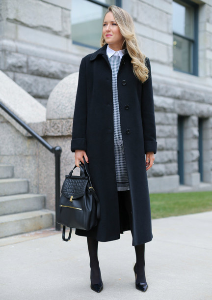 the classy cubicle blogger white shirt patterned dress grey dress leather backpack long coat classy winter outfits dress coat shirt tights shoes jewels opaque tights masculine coat