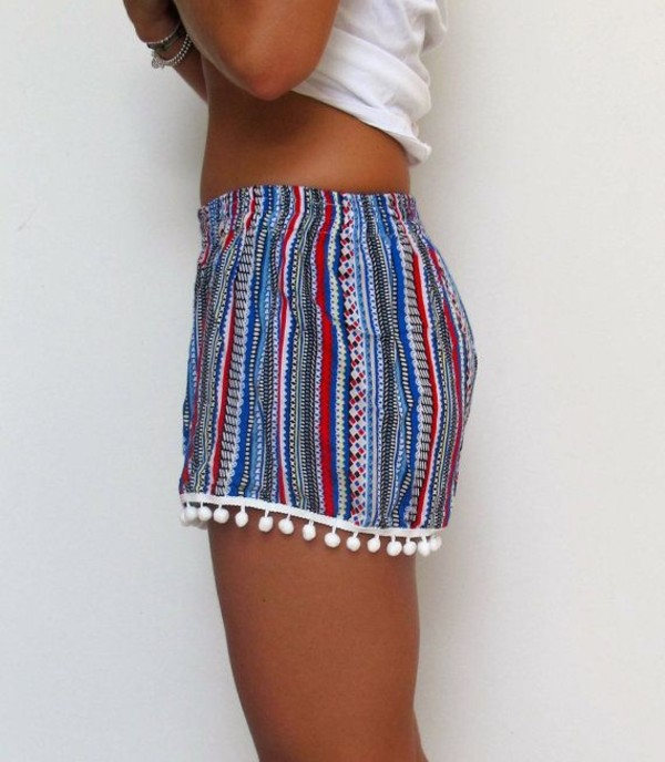 shorts stripped tassel tumblr strippedshorts blue white pink pom poms shortshorts boardshorts hipster indie india love colorful tribal pattern