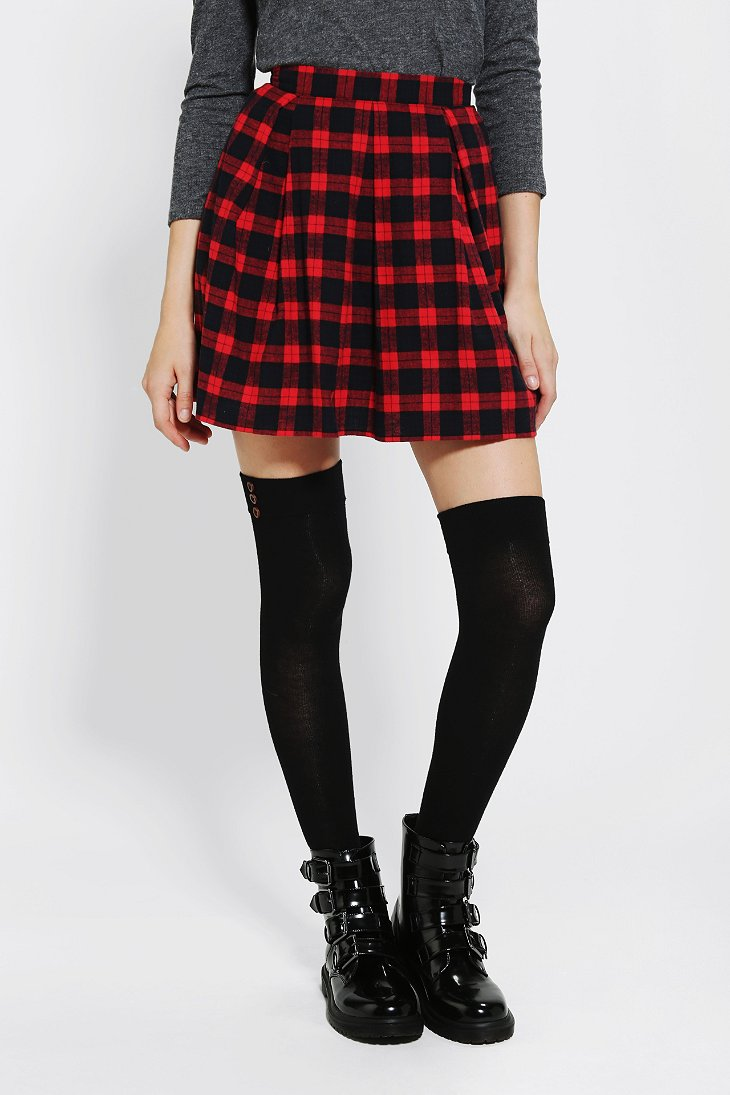 Coincidence & Chance Pleated Plaid Skirt - Urban Outfitters