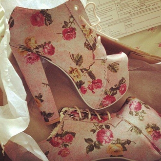 shoes pink floral ankel boots heels laced