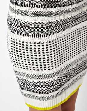 ASOS   ASOS Textured Stripe Skirt In Knit at ASOS