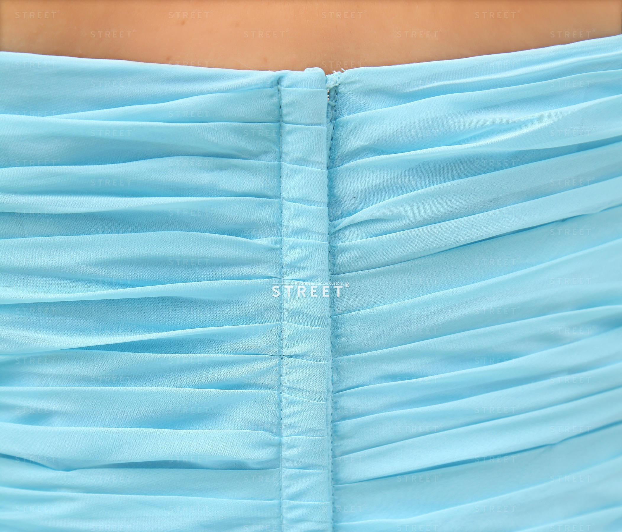 Unique Gorgeous Sweetheart Chiffon Light Blue Sky Rhinestone Blue Cocktail Dress Under 150