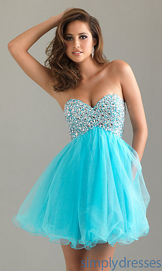 Strapless Short Prom Dress, Beaded Party Dresses - Simply Dresses